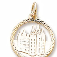 That is cool -  10k Yellow Gold Mormon Temple Charm, Charms for Bracelets and Necklaces