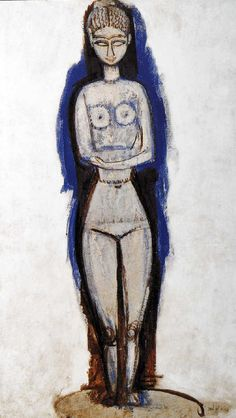 Amedeo Modigliani - Standing Nude with Crossed Arms. x cm, Oil on cardboard, Nagoya City Art Museum, Japan Modigliani Paintings, Amédéo Modigliani, Free Art Prints, City Art, Painting & Drawing, Art Museum, Graphic Art, Sculptures, Photos