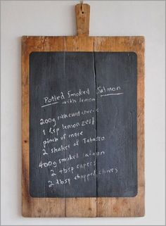 Large rustic French vintage bread board chalkboard