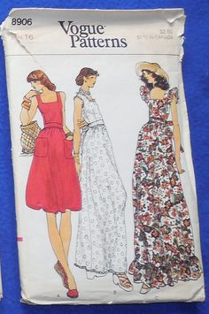 Vogue 8906 Size 16 Sun Dress Sewing Pattern-Long or Short Dress-Etsy
