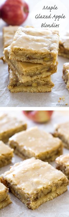 These chewy apple blondies taste like apple pie and are covered in a sweet maple glaze. Youre sure to fall in love with these Maple Glazed Apple Blondies! One of the best fall desserts! Brownie Desserts, Fall Desserts, Brownie Recipes, Just Desserts, Cookie Recipes, Dessert Recipes, Apple Recipes, Sweet Recipes, Apple Blondies Recipe