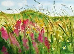 Original Watercolour Painting - LANDSCAPE: WILD FLOWERS AND GRASSES | eBay