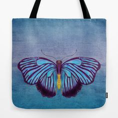 Butterfly Tote Bag Butterflies and Burlap by ArtfullyFeathered