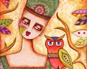Small Owl Art Print, ACEO ATC Girl and Owl Artist Trading Card, Whimsical Storybook Woodland Watercolor Illustration, Orange Yellow Pink