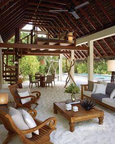 Beach villa with sand floor living room   Four Seasons Hotel in Landaa Giraavaru, Maldive. - photo via ArchiEli on fb