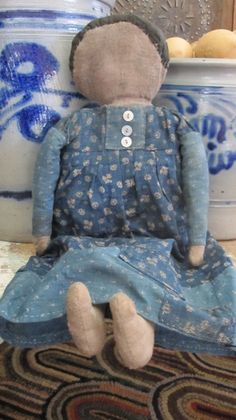 "I want to keep this one! THE BEST early, blue calico. This doll feels so old! Her hair is early mourning cloth. What can I say…I love her! She is signed and dated by me. She is 16"" tall."