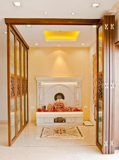 white marble pooja/puja room (mandir) in a contemporary setting
