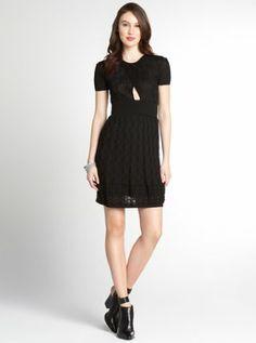 black stretch cotton blend keyhole short sleeve dress
