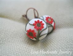 Little Red Flowers by Lena Handmade Jewelry by StoriesMadeByHands, $28.00