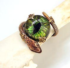 Gothic Steampunk Ring Gothic Eye Steampunk Eye Green Creepy Gothic Jewelry Year Of The Snake. $29.99, via Etsy.