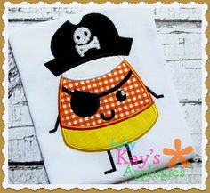Candy Corn Pirate Applique - ARG! Here is a SWEET design for Halloween! This Candy Corn pirate is great for boys and girls!