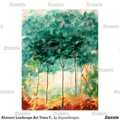 SOLD!!  Abstract Landscape Art Trees Forest Painting Postcard