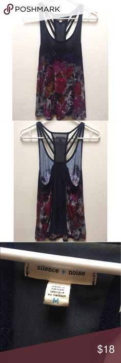 ☀️EUC Urban Outfitters Silence + Noise Tank Top Silence + Noise by Urban Outfitters Floral Navy to Pink/Purple Ombré Tank Top in size Medium, excellent used condition. Urban Outfitters Tops Tank Tops