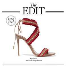 """The Edit: Aquazzura Latin Lover Fringe Sandals"" by polyvore-editorial ❤ liked on Polyvore featuring Aquazzura and theedit"