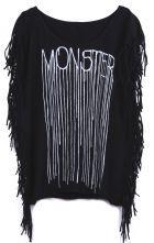 Black Sleeveless Side Tassel MONSTER Print T-Shirt $29.35 #sheinside
