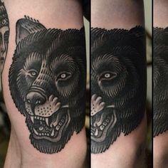 Pics Photos - Black Bear Face Tattoo On Shoulder