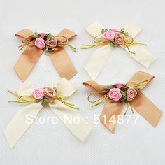 100 Pcs flores de cetim laço de fita w / folha subiu apliques de costura casamento A0123 DIY $29.79