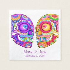 Shop Sugar Skulls Couple Paper Napkins for Wedding created by thaneeyamcardle. Sugar Skull Design, Heart Party, Wedding Napkins, Ecru Color, Paper Hearts, Sugar Skulls, Paper Napkins, Presentation, Couple