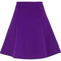 Purple scuba skater skirt as seen in Look. #riverisland