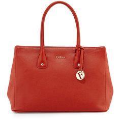 Furla Serena Medium Leather Tote Bag ($200) ❤ liked on Polyvore featuring bags, handbags, tote bags, brown, handbags totes, brown leather tote, leather handbag tote, genuine leather tote and brown leather tote bag