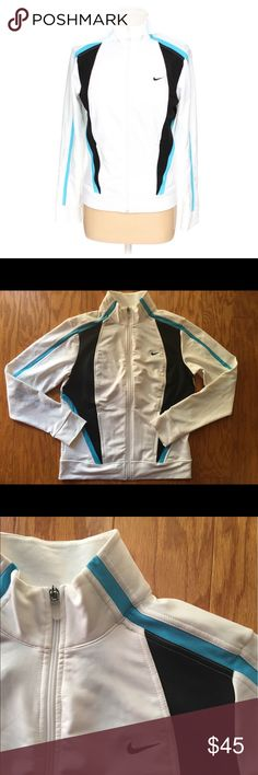 NWOT Nike full zip Brand new never worn white Nike full zip with blue and black detailing. Great for working out 💙  Buy with confidence! ✔️ Top rated seller ✔️ Fast shipper (1 day) ✔️ Top 10% seller ✔️ Top 10% sharer ✔️ Posh Mentor Nike Tops Sweatshirts & Hoodies