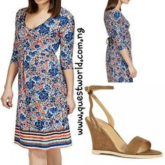 Blue Floral Fit & Flare Dress size 6 10 14 18 #9000 Tan Suede Wedges Next size 8/42 #12000 www.questworld.com.ng. Pay on delivery in Lagos. Nationwide Delivery