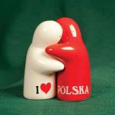 "Ceramic Salt & Pepper Set - I Love PL by Polish Pottery. $14.95. This little red and white figured ceramic salt and pepper shaker set is too adorable to pass up. While each figure-shaker is individual, united the two shakers can be composed together to form a touching hug. The white pepper form has on one side and the ""letter I"" and ""a red heart"", while the red salt form has the word ""POLSKA"" which all symbolize the magnificent phrase ""I Love Poland"". A removab..."