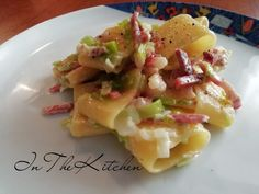 Paccheri porro e speck Pizza Recipes, Vegan Recipes, Ravioli Filling, Mediterranean Recipes, Pasta Dishes, Italian Recipes, Food Porn, Food And Drink, Tasty