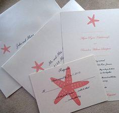 Starfish wedding invitation Coral wedding by TheExtraDetail