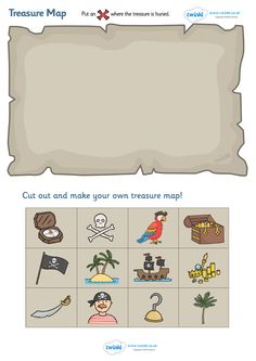 Twinkl Resources Treasure Map Design Activity Thousands of printable primary teaching resources for EYFS, KS1, KS2 and beyond! worksheet, topic, cutting, fine motor skills, activity, pirate, pirate themed, treasure, pirate ship, parrot, treasure chest, jolly roger, ship, island, ocean,
