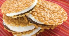 Reko products featured in this recipe: Reko Chocolate Pizzelle Reko Dulce De Leche Pizzelle Reko Maple Syrup Pizzelle Reko Lemon Pizzelle Reko Vanilla Pizzelle Reko Anise Pizzelle