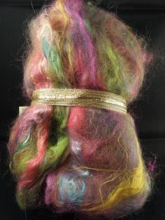 Art Batt Angora Rabbit Baby Alpaca Mulberry Silk equal parts by PlumCrazyFiberArt on Etsy