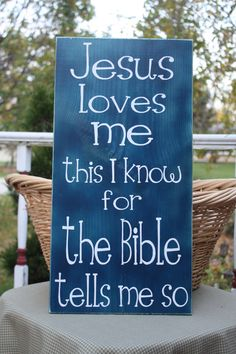 Wooden sign with vinyl lettering  Jesus loves me by WordFlower, $35.00