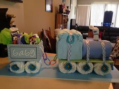 DIY Big diaper train. Stands over a foot tall. Cute idea for baby showers