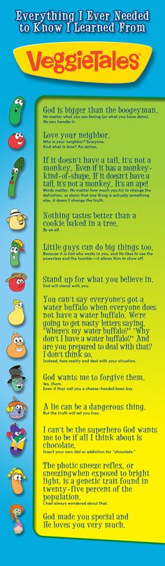Everything I Needed To Know I Learned From Veggietales... don't remember the fourth one. You?