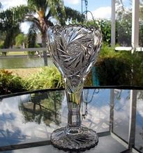 Imperial Glass EAPG Crystal Chalice Vase Pinwheel and Hobstar