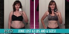 Jonie suffers from chronic pain, which made working out difficult for her. She was having a hard time finding a program that would let her work out pain-fr Transformation Tuesday, Weight Loss Transformation, Piyo Results, Beachbody Piyo, Chalene Johnson, 45 Pounds, Weight Loss Goals, Chronic Pain, Get In Shape