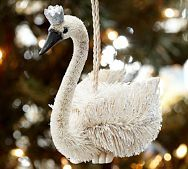 Pottery Barn - Crowned Swan Ornament - 6.50