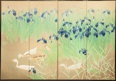 Japanese Screen: Water Landscape with Iris and Ducks on Silk.  Taisho Period.  Signed: Komatsu Kaei (1898-1945)