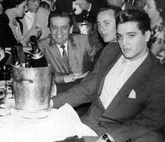 """Elvis and Freddy Bienstock in the """"Lido"""" between them its his buddy from the army Rex Mansfield"""