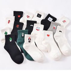 Underwear & Sleepwears Man White Harajuku Socks Unisex Summer Short Socks Hipster Skateboard Funny Ankle Socks Embroidery Coke Killer Cactus Monster