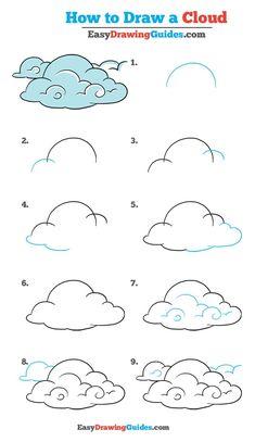 Easy Drawing Tutorial, Cloud Tutorial, Easy Drawing Steps, Step By Step Drawing, How To Draw Steps, Cloud Drawing, Drawing Eyes, Guy Drawing, Drawing People