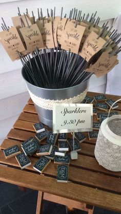 Personalized Sparkler Favours . Devon Wedding. Tunnels Beaches. May 2015. #weddingdecoration
