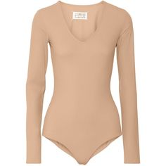 Maison Margiela Stretch-jersey bodysuit (365 BRL) ❤ liked on Polyvore featuring intimates, shapewear, bodysuits, tops, body, jumpsuit, shirts and neutrals