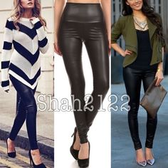"""BLACK faux leather leggings high waist Slick Sexy ❌PRICE IS FIRM UNLESS BUNDLED❌.    New Black Sexy Faux leather look leggings. Perfect fit. High waist. Medium weight, Stretchy, perfect matte faux leather look finish .Fabric Content : Polyester + spandex. Measurements laying flat Un stretch. (Inseam = 27-28"""") (Total Length= 38-40"""") (Front Rise = 13"""") (Back Rise =15"""")  (Small Waist =12-14"""") (Medium Waist =13-15"""") (Large Waist =14- 16 """" ) 🚩Price is firm unless bundled🚩 Boutique  Pants…"""