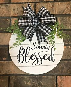 Awesome farmhouse decor diy are offered on our site. Christmas Crafts, Christmas Decorations, Xmas, Blessed Sign, Front Door Decor, Porch Decorating, Decorating Ideas, Craft Ideas, Wood Doors