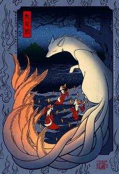 Kitsune The Nine-tailed Fox at the Changing Tree, Oji by CanisPanthera Pokemon Poster, Art Pokemon, Nintendo Pokemon, Magical Creatures, Fantasy Creatures, Fuchs Illustration, Japanese Fox, Nine Tailed Fox, Fox Spirit