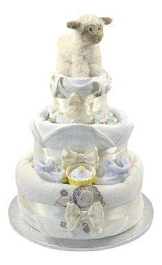 Neutral Three Tier Nappy Cake - Baby Shower Gift - Nappy Cake - Unisex