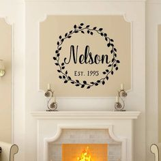 Last Name Vine Wreath With Established Date Vinyl Wall Decal 22601 - Choose size and color from the drop down menu on the right - Add name and date in fields on the right - Color sample shown have bee