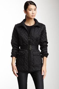 Cole Haan Belted Quilted Puffer Jacket by Luxury Outerwear on @HauteLook